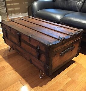 Antique Steamer Trunk - ALL WOOD- Coffee Table