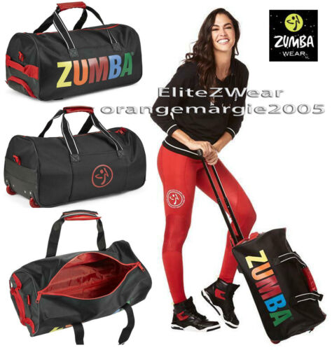 Zumba Jumbo Rolling Tote Gym Bag Converts to Duffel Gym Travel Spacious Durable