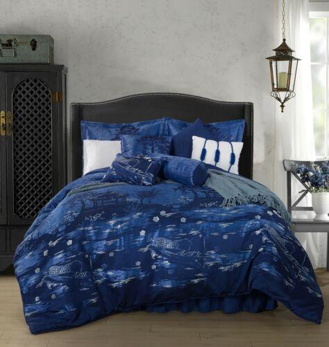 Chezmoi Collection 9-Piece Japanese Blue Jacquard Oversized