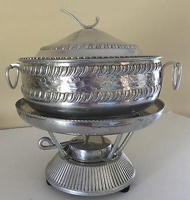 VTG Mid-Century Hammered Aluminum Chafing Dish Warming 4 Pieces No Insert (Aluminum Chafing Dishes)