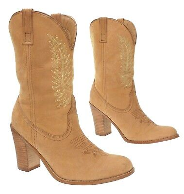 STEVE MADDEN Cowboy Boots 9 M Womens Brown Leather Western Booties High Heels