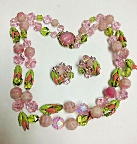 Vintage W. Germany Pink Enamel Flower Buds & Lucite LEI Necklace & Earrings