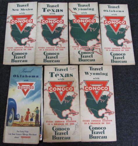 Lot of 7 Vintage CONOCO Road Maps - NM TX WY OK (AB506)
