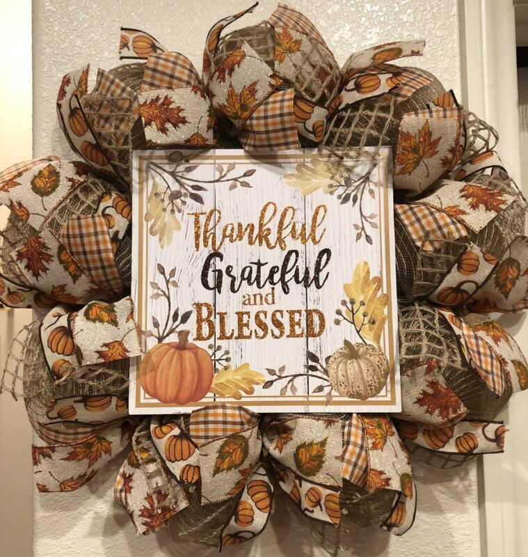 "Farmhouse THANKFUL GRATEFUL & BLESSED 🍁 BURLAP Deco Mesh WREATH Fall 24"" X 24"""