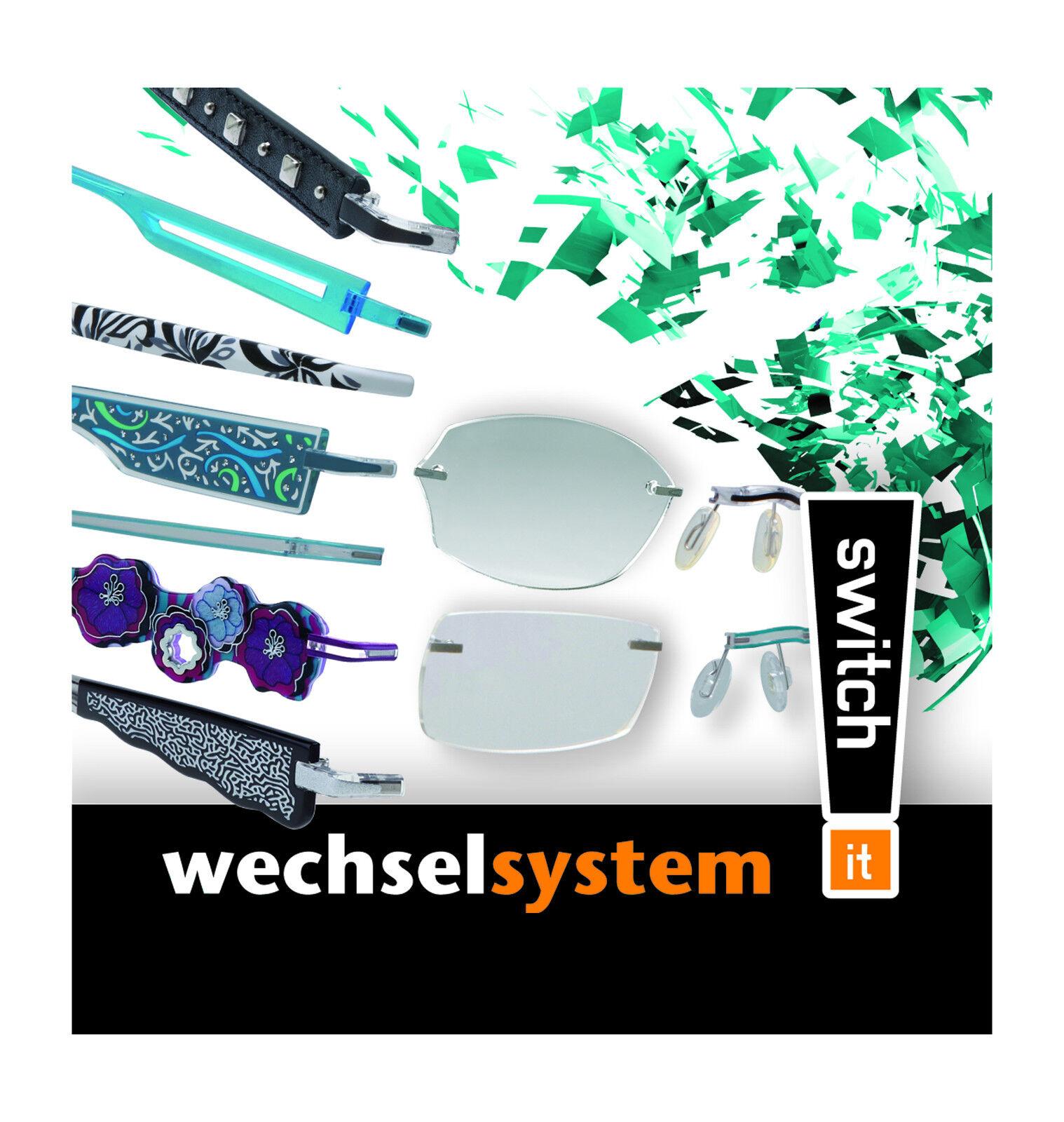 Switch it 176 Damen Kunststoff Unisex grün schwarz Wechselbrille Brille Neu