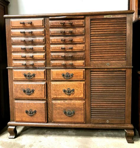 OAK HARVARD DENTAL/MEDICAL/COLLECTOR/JEWELRY CABINET, COUNTRY/GENERAL STORE