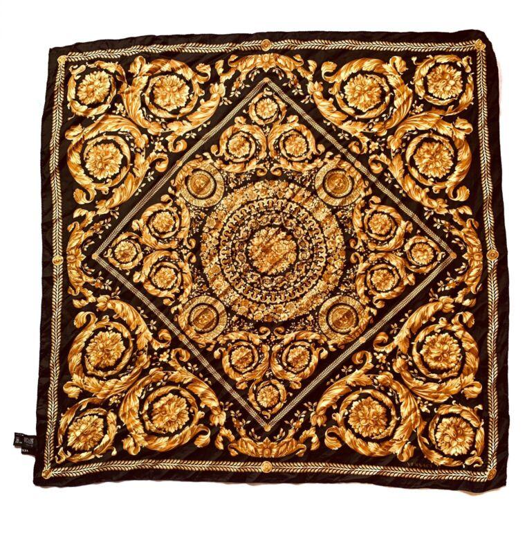 """Versace Barocco Print Scroll Bouquet Silk Twill Scarf 34"""""""