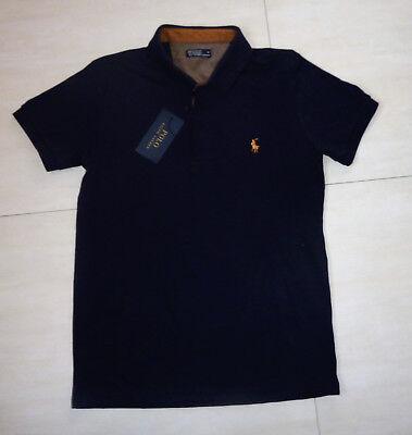 Männer Polo Shirt by Ralph Lauren, Gr. M, dunkel blau mit braun, NEU