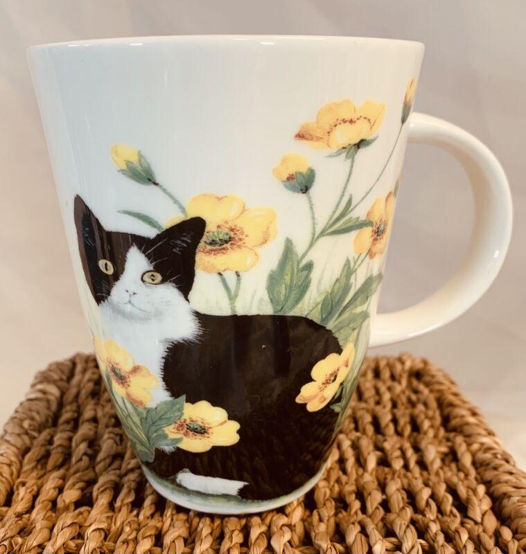ROY KIRKHAM Fine Bone China Mug England Black & White Cat Yellow Flowers