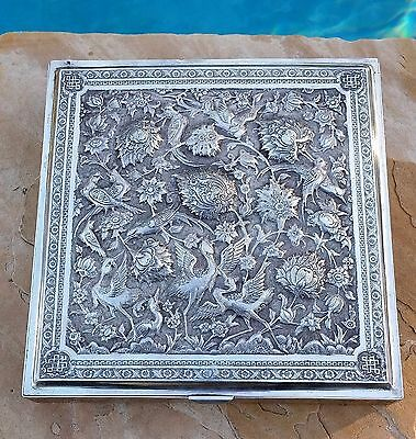 Rare Antique 20th C Large Solid 84 Persian Silver Scholar Box Rabie 1419 Grams