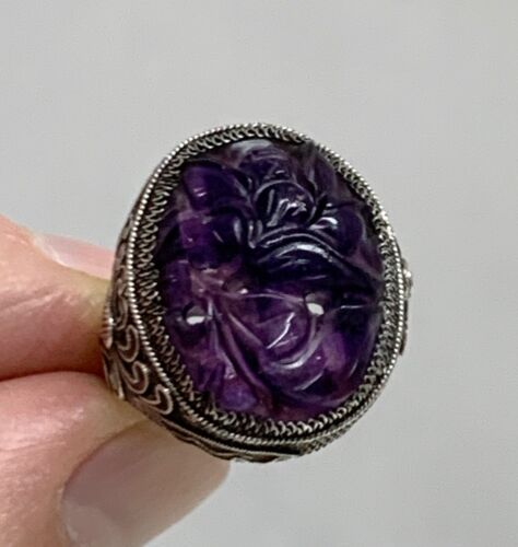 Chinese Carved Amethyst Sterling Silver Filigree Ring   -  80153
