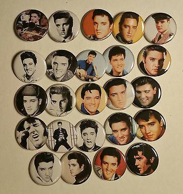 "Wholesale Collectable Set (24) 1.25"" Pinback Button Badge Elvis Presley 1¼"" Pins"