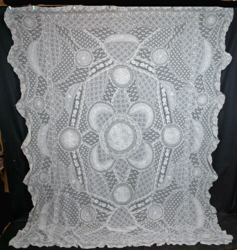 Antique Vintage French Net Normandy Lace Bedspread 1920s, Patchwork Coverlet