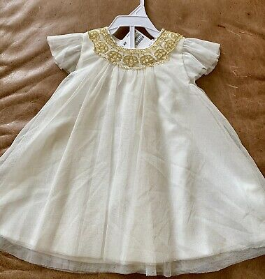 H&M Little Girls Tulle Ivory & Gold 3 layer Dress, size 6-9 Months - Little Girls Gold Dress