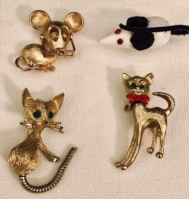 Lot of 4 Vintage Estate Cats & Mice Brooches Pins Jewelry Reticulated Whimsical