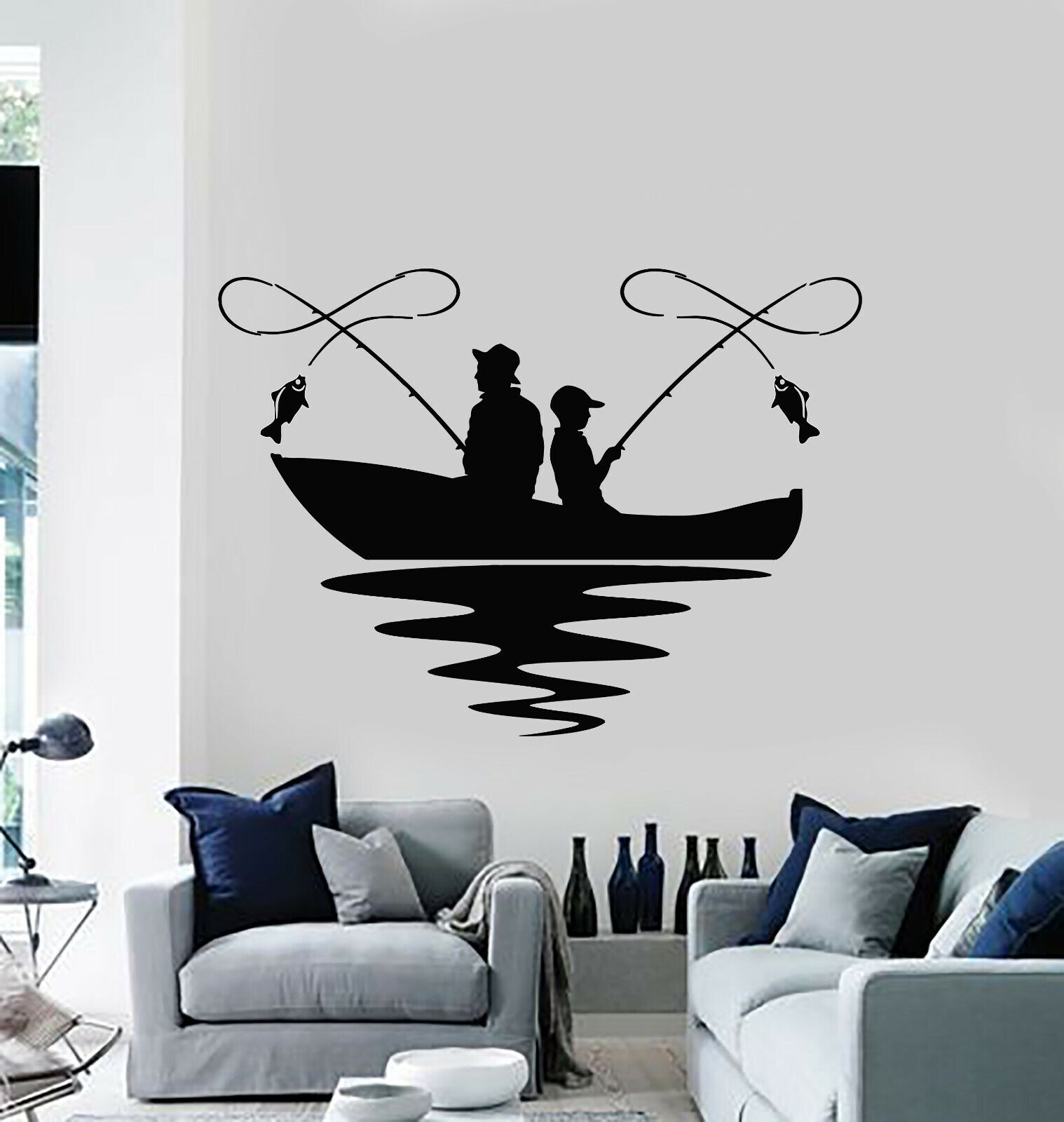 Vinyl Wall Decal Fishing Lake Boat Hobby Fish Club Relax Sti