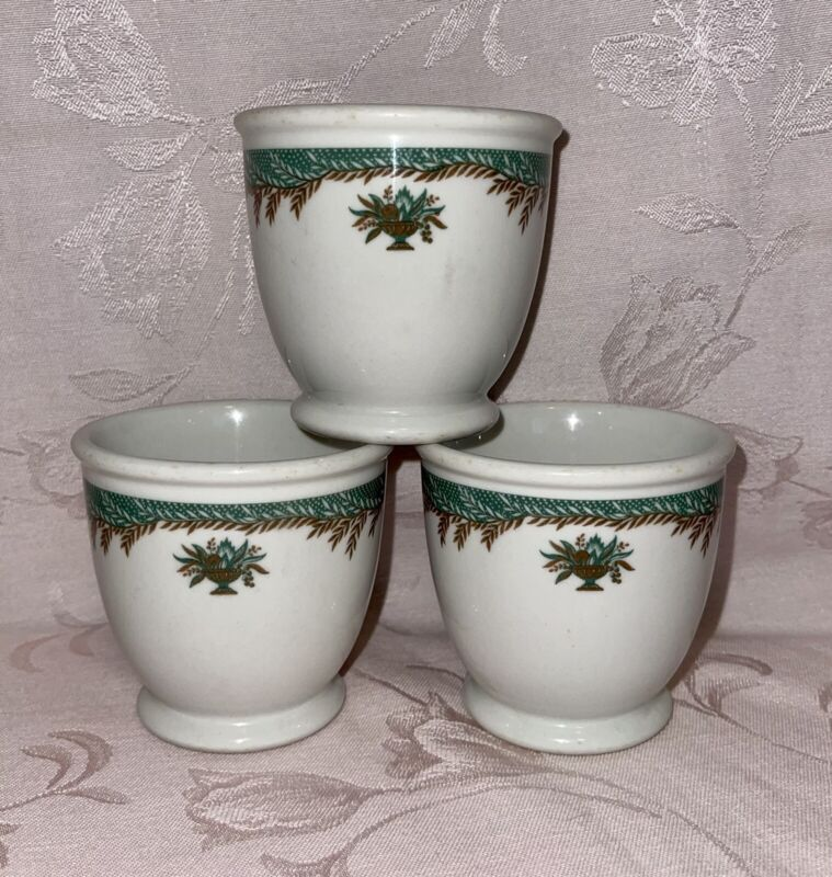 3 Vintage Shenango Laurel & Flower Pot Pattern Egg/Custard Cups Restaurant Ware