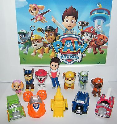 Nickelodeon PAW Patrol Deluxe Mini Figure Toy Play Set of 12 Ryder and 6 Dogs