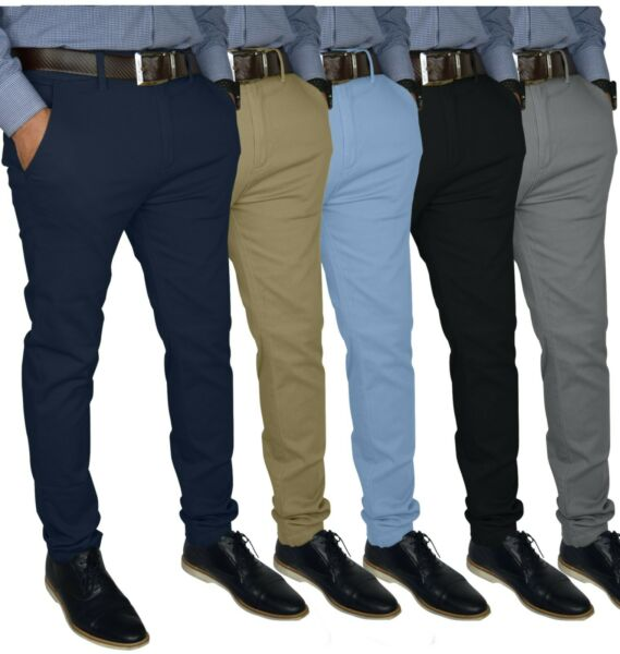 Mens Slim FIT Stretch Chino Trousers Casual Flat Front Flex Full Pants 1