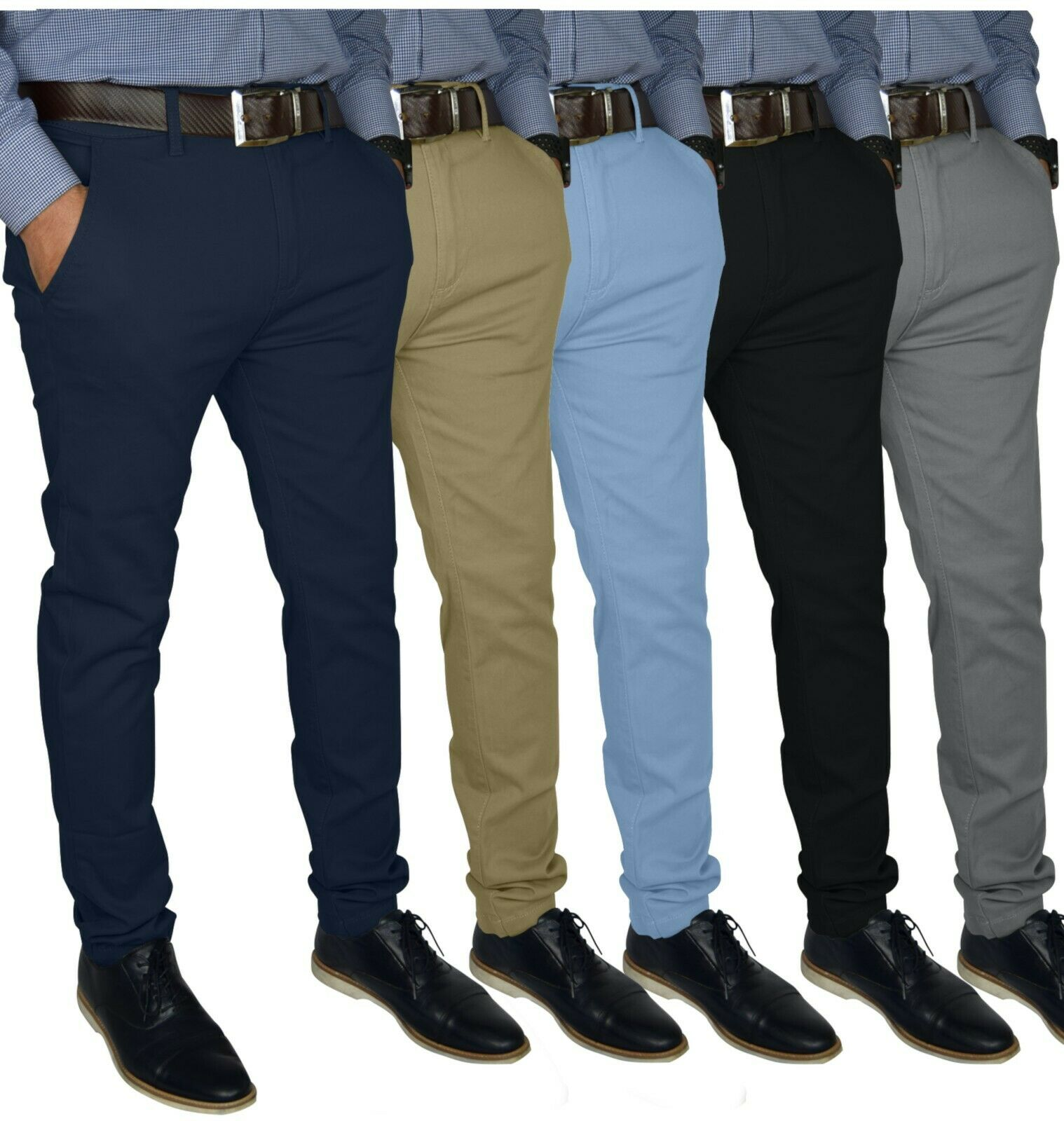 Mens Slim FIT Stretch Chino Trousers Casual Flat Front Flex Full Pants Clothing, Shoes & Accessories