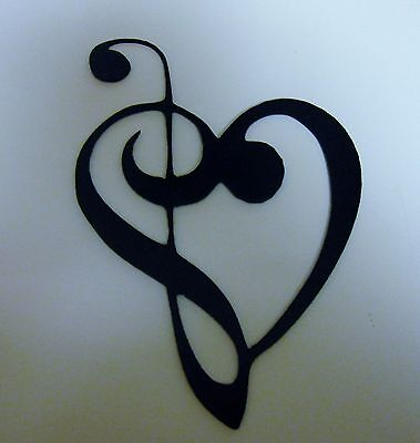 Metal Wall Art Decor Music Heart Notes Musical Clef Mini Version