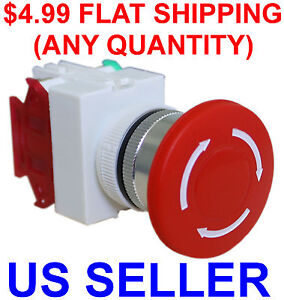 ==FLAT SHIPPING==Emergency Stop Switch Push Button Mushroom PushButton Shut Off
