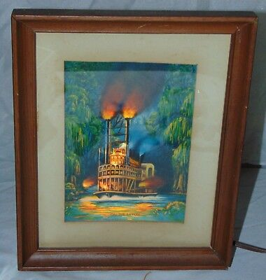 RARE 1953 Econolite On The Bayou Paddle Boat River Motion Lamp Picture Frame