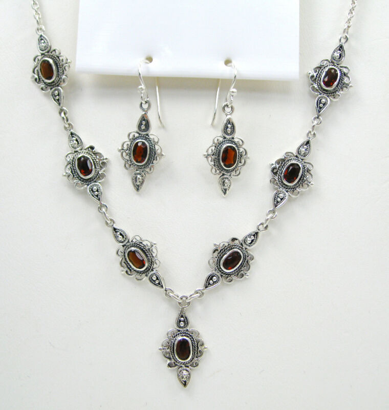 Red Crystal Charm Link Necklace and Earrings Set 925 Sterling Silver F611