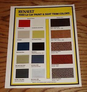 original 1980 renault le car interior exterior color paint trim sales sheet 80 ebay. Black Bedroom Furniture Sets. Home Design Ideas