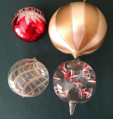4 Vintage Glass Ball Christmas Ornaments Poland-West Germany Glitter Gold Red