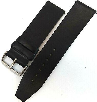 Nuevo Hombre Piel Auténtica Negra 24mm Largo Correa Reloj Color Plata Hebilla