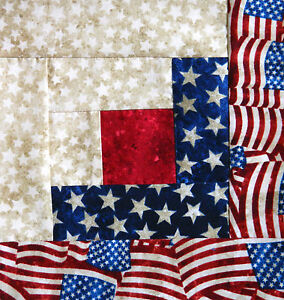 {12} Log Cabin Quilt Top Block { KIT } ~ Americana ~ Pre-Cut ~ Ready to Sew