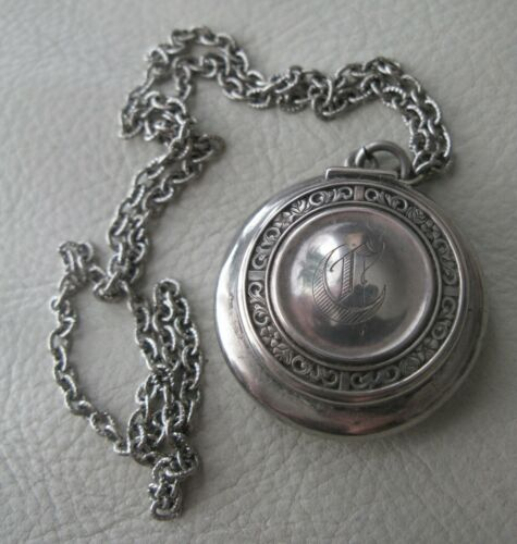 Antique Chatelaine STERLING SILVER Wool Puff Dance Compact CB Co