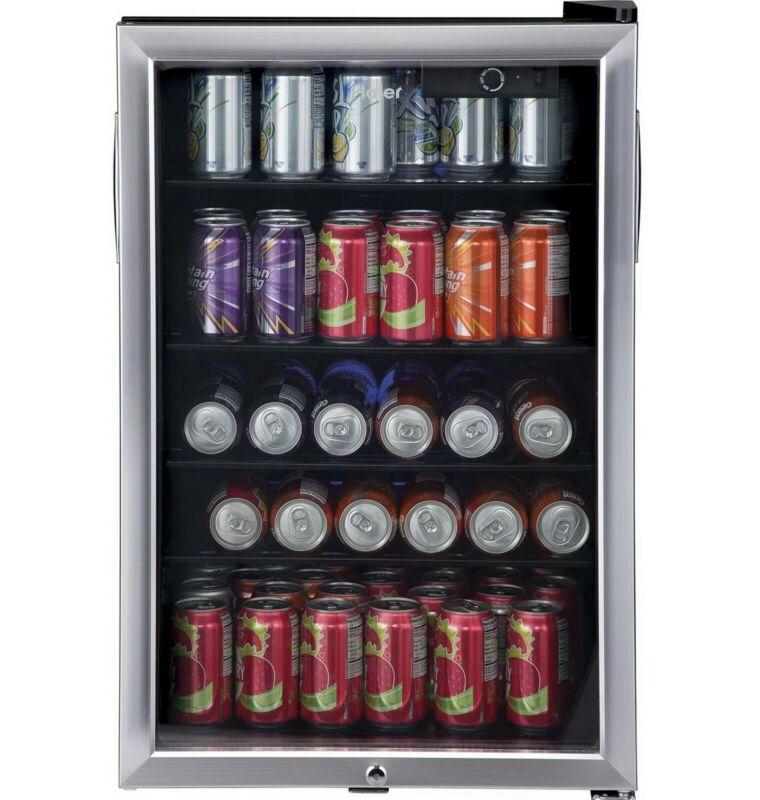 Haier 150 Can Beverage Mini Fridge Cooler Refrigerator Locking Glass Door