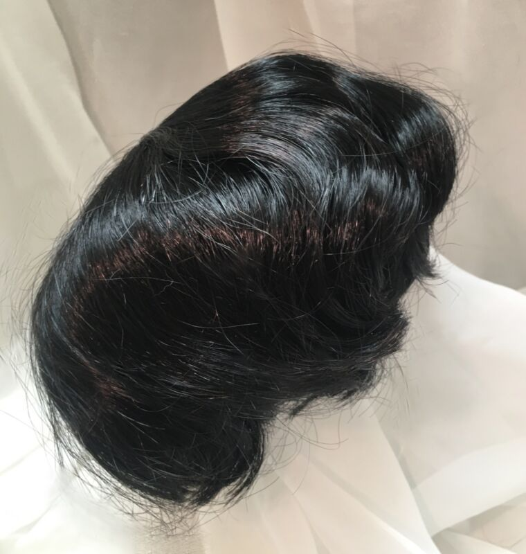 "16"" Slight End Curl Black Baby Doll Wig Reborn OOAK BJD Bisque Repair 104"