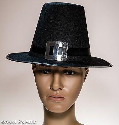 Pilgrim Hat Black Felt 17th Century Men's Puritan Style Costume Hat