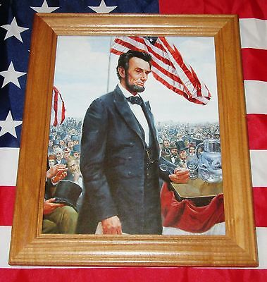 Framed Civil War Painting  Mort Kunstler  Abraham Lincoln  Gettysburg Address