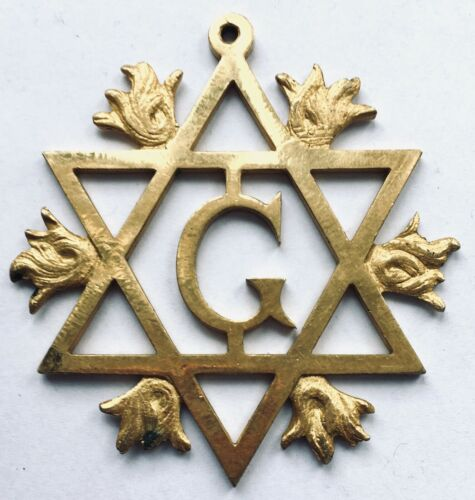 "Big Brass ""G"" in the Star of David Masonic Medallion"