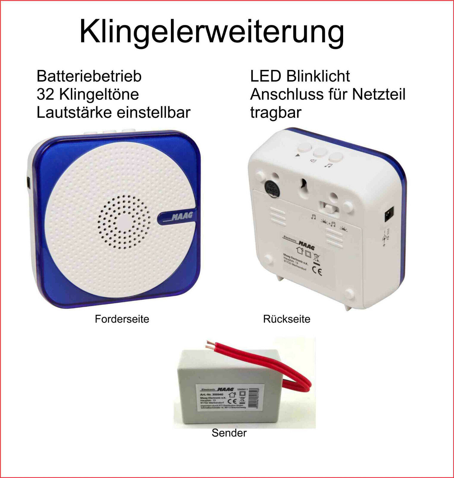Ritto STR usw Funk-Klingel zum Anschluss in einer Türsprechanlage Siedle