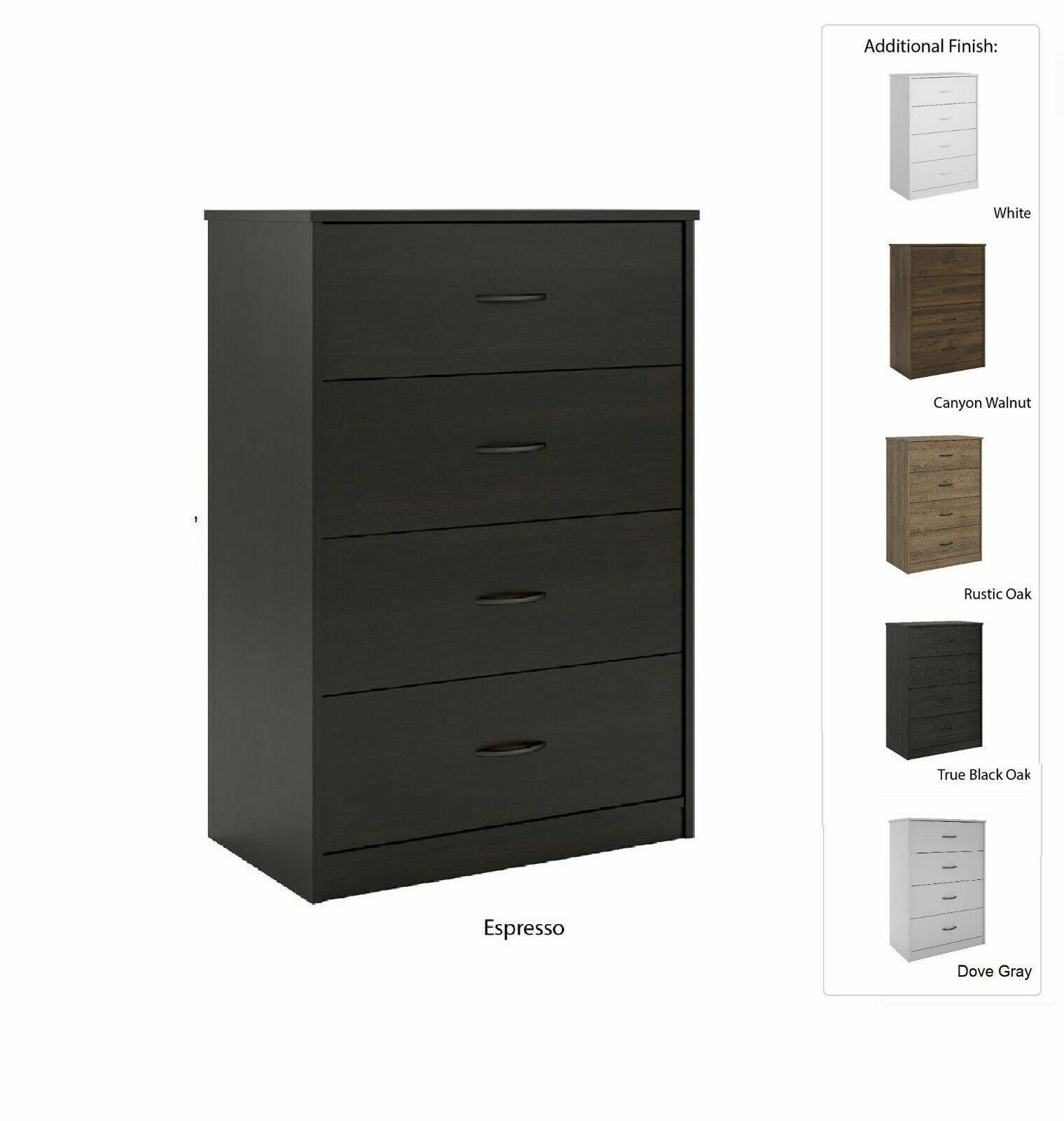 "40"" TALL 4-DRAWER MODERN DRESSER Chest Bedroom Storage Wood"