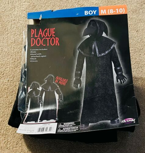 Fun World Boys 4-Piece Plague Doctor Halloween Costume Size Medium (8-10) NEW