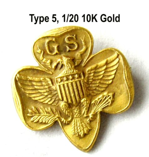 1/20-10K Solid GOLD Type 5 SPECIAL Girl Scout MEMBERSHIP PIN RARE HM CHRISTMAS