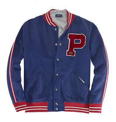 Ralph Lauren Polo Blau Fleece Baseball Varsity P Patch New York Jacke Neu Varsity Jacke Patches