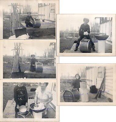 1950 Country Farm Boy Woman Churning Butter Wood Barrel Churn Rifles Photos