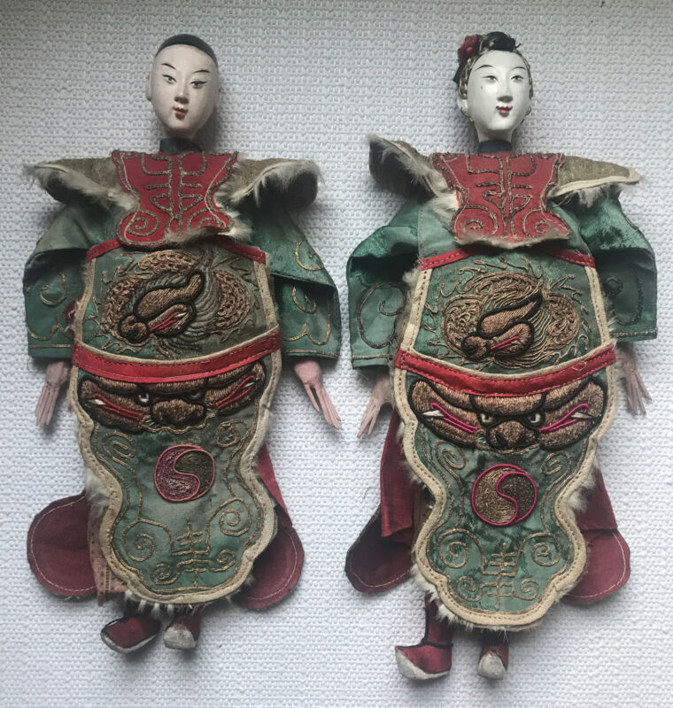 Antique Pair of Chinese Wood OPERA DOLLS Qing Dynasty w/ Dragon Design