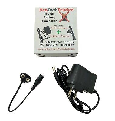 9v Battery Eliminator Kit Replace Your 9-Volt Batteries AC DC Adapter -