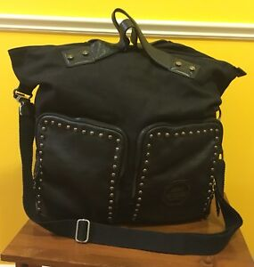 New Large Black Tote Overnight Bag Leather Trim Purse