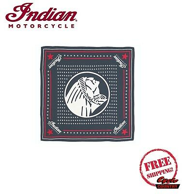 GENUINE INDIAN MOTORCYCLE BRAND HEADDRESS BANDANA 100% SILK NAVY SCOUT CHIEF