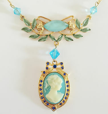 New Lady Cameo Blue Bow Flower Floral Charm Pendant Chain Necklace Gift (Lady Cameo Pendant Necklace)