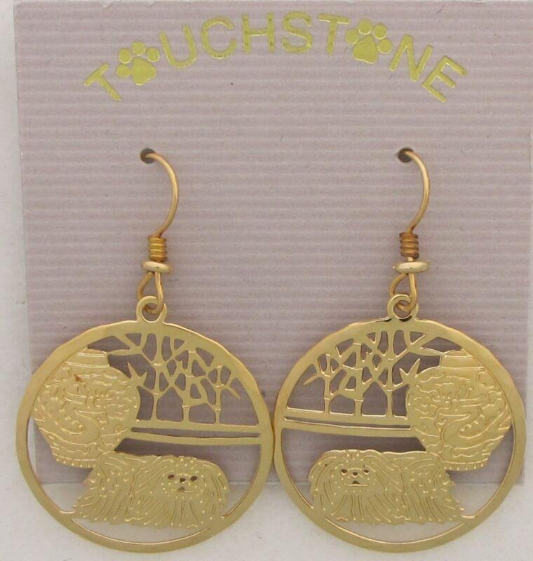 Pekingese  Jewelry  Gold Dangle Earrings